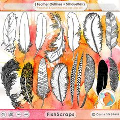 Feather Doodle Clip Art - Feather Silhouettes & Outlines - Instant Download, High Resolution Graphics in PNG and ABR ( Photoshop Brush ) Formats.  Personal and Small Business Commercial Use. (See Shop Policies for Details)
