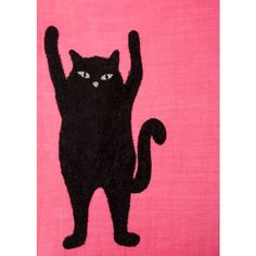 PS Paul Smith Women's Pink Embroidered 'Cat' Pattern Wool Scarf ($215) ❤ liked on Polyvore featuring accessories, scarves, wool shawl, lightweight scarves, woolen shawl, lightweight shawl and woolen scarves