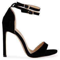 Shawnna Double Strap Stiletto Heel in Black Faux Suede ($37) ❤ liked on Polyvore featuring shoes, pumps, party shoes, black strap pumps, strappy pumps, heels stilettos and stiletto pumps
