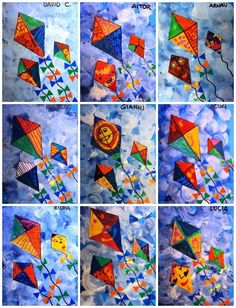 Spring Kites - 1st grade  White tempura paint with sponges on blue paper for background, cut out kites and decorate, glue on backdrop use markers and stickers for tail