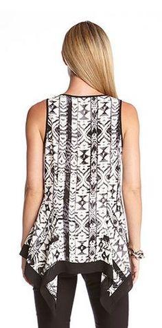 ARTSY BLACK AND WHITE TRIBAL PRINT HANDKERCHIEF TANK #Artsy #Black_and_White #Tribal #Print #Handkerchief #Top #Fashion