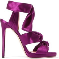 JIMMY CHOO LONDON   Kris knottted satin sandals ($455) ❤ liked on Polyvore featuring shoes, sandals, satin sandals, jimmy choo shoes, purple shoes, purple satin shoes and tie sandals