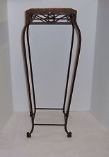 Tall French Market Design Metal Plant Stand with Weave Top