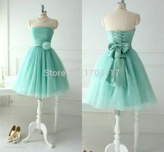 Short Lovely Mint Tulle Prom Dresses For Teens Young Girls 2015 Chic Flower Bow Sash Lace up Strapless