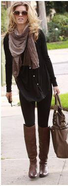 .Annalynne Mccord - perfect example of amazing fall style! A great pair of boots really make a fall outfit complete.