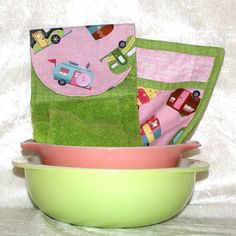 Cutest set of towel and potholders for camping or glamping. Airstream, Teardrop, or Shasta owners would love these.