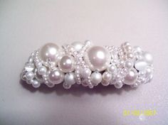 Hand beaded hair clip barrette White Faux Pearls  Bridal Wedding all occasion accessories - pinned by pin4etsy.com