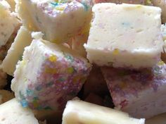 Vanilla cake batter fudge. Www.laurenskitchen.co.uk