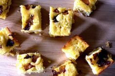 caramelized onion and goat cheese cornbread-- amazing and addictive. maybe double on caramelized onions-- the cornbread can carry a lot of 'toppings'