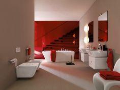 Red and White Bathroom Decor . 24 New Red and White Bathroom Decor . 39 Cool and Bold Red Bathroom Design Ideas Contemporary Bathroom Inspiration, Contemporary Bathroom Designs, Bathroom Design Luxury, Red Bathroom Decor, White Vanity Bathroom, Bathroom Styling, Bathroom Colors, Barn Bathroom, Small Bathroom