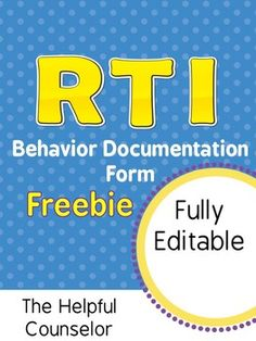 Progress monitor with this RTI documentation form Elementary School Counseling, School Social Work, School Counselor, Elementary Math, Primary School, Response To Intervention, Reading Intervention, Reading Fluency, Student Behavior