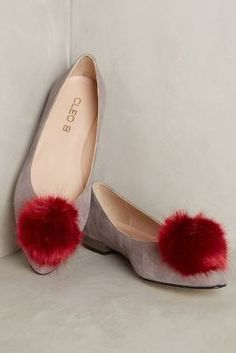 Cleo B Pompom Leather Flats #anthropologie #newarrivals #anthrofave