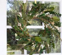 """EUCALYPTUS WREATH - APPLE ORCHARD - 17""""  EUCALYPTUS WREATH - APPLE ORCHARD - 17""""  larger image  Item:  ID10617    Price:  $22.95        Please login to purchase    Description    Preserved Eucalyptus and preserved salal are combined together to make up this beautiful wreath.  Curly willow branches and blond triticum wheat are used as accents to finish out this Made in America design.  The natural shades of green allow this wreath to fit into almost any décor.  Wreath is also available in a…"""