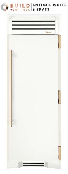 "Antique White + Brass | Inspired by chefs, refined for the home, and now designed by you, your custom True will both anchor your kitchen and set it apart. | Featured Product: 30"" Refrigerator Column from TRUE"