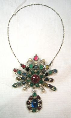Chanel Necklace - c. 1959 - House of Chanel (French, founded 1913) - Design by Coco Chanel (French, 1883-1971) - Glass, rhinestone, silver metal, faux pearl - @~ Watsonette