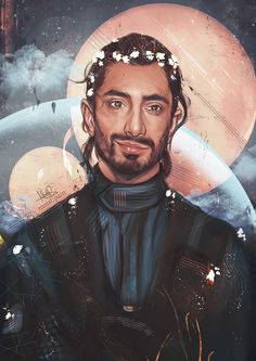 "sheep-in-clouds: "" (ノ◕ヮ◕)ノ*:・゚✧ finished my painting of Bodhi Rook with tiny white flowers in his hair """