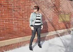 JRebeccaStyle | Stripes, silk bomber jacket, wedge high tops, leather jeans