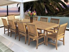 Royal Teak Rectangular Teak Expansion Table & Compass Chair Set-Teak Patio Furniture - Home and Patio Decor Center Teak Dining Table, Outdoor Dining Set, Outdoor Spaces, Outdoor Decor, Patio Dining, Outdoor Ideas, Outside Benches, 3 Piece Dining Set, Dining Sets