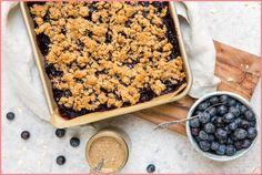 Blueberry Crumble Bars (Gluten Free & Vegan) - From My Bowl Blueberry Crumb Bars, Vegan Blueberry, Vegan Desserts, Dessert Recipes, Vegan Recipes, Healthy Deserts, Dinner Menu Boards, Easy To Make Desserts, Vegan Gluten Free