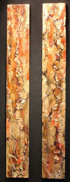 'Scorched Earth Diptych' Original art, mixed media painting on canvas with resin by artist Shane McCoubrey  Available at Wyecliffe Galleries: http://wyecliffe.com/collections/shane-mccoubrey-art/products/shane-mccoubrey-scorched-earth-diptych