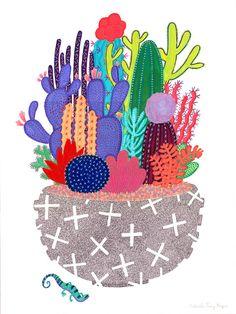 Cactus Lizard Print