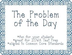 """Here's a set of """"problem of the day"""" cards for use during math talk time."""
