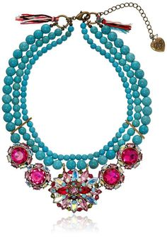 """Betsey Johnson """"Turqs and Caicos"""" Mixed Faceted Bead Semiprecious Turquoise Necklace, 16''+3'' Extender"""