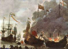 1667: Dutch Admiral Michiel de Ruyter destroys the British fleet at Chatham