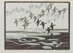 ✨ Norbertine von Bresslern-Roth, Austrian (1891-1978) - Untitled (Birds in Flight), Color Linocut, 180 x 245 mm (7 1/16 x 9 5/8 in.)