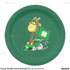 Funny Giraffe. Fun St.Patrick's Day Paper Plates 9 Inch Paper Plate
