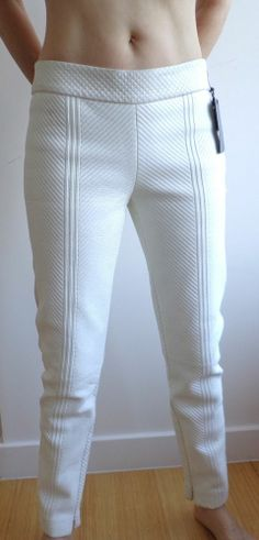 ALEXANDER MCQUEEN LEATHER PANTS SZ 42 OR US 8 CROPPED WHITE BEIGE ORIG $5,900  #Pants #Fashion #Deal