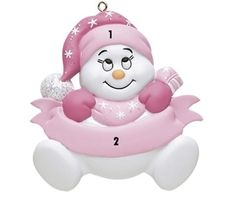 Little Girl Pink Snowbaby Personalized Ornament Baby's 1st Christmas Ornament, Babys 1st Christmas, Christmas Snowman, Christmas Tree Decorations, Holiday Decor, Personalized Ornaments, Pink Girl, Little Girls, Hello Kitty