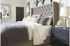Gray Sorinella King Upholstered Bed View 4 Master Bed