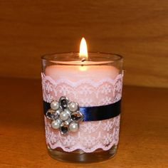 *****NEW ITEM ALERT****** This Navy Blue and Blush Pink Wedding Votive Candle Holder is perfect for a Spring Wedding. It has Blush pink lace, navy blue ribbon, and a fabulous rhinestone brooch.  Come and check it out!