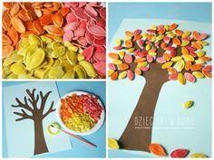 drzewko z pestek dyni - jesienna praca plastyczna dla dzieci