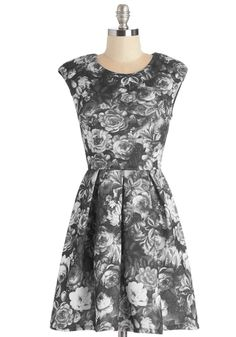 Eye-Catching Array Dress. Featuring an entrancing blend of greyscale hues, this floral dress is a chic sight to see! #grey #modcloth