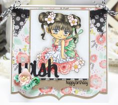 Daydreaming to Create, Whimsy Stamps, Art by Mi Ran 'Rosella', Copic markers, Birthday card