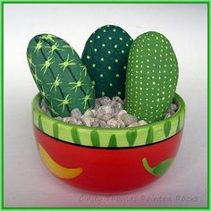 Cactus Painted Rocks in a Salsa Bowl