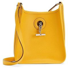 HERMES Yellow Epsom Vespa TPM (258205 RSD) ❤ liked on Polyvore featuring bags, handbags, leather purses, vintage purses, hermes bag, real leather handbags and leather bags