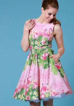 Pink Flamingo Border, tea dress by Lady Vintage   Buy now at www.misswindyshop.com