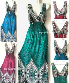 2c63282554 Fashion Women Summer Sleeveless Evening Party Beach Long Maxi Sundress Dress  Hot Net Fashion