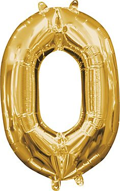 Air Filled Gold Number 0 Balloon 10in X 14in