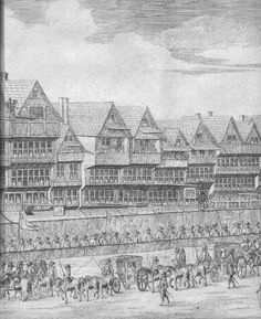 Cheapside, from the visit of Mary de Medici, 1639. The signs on poles in front of the houses probably relate to merchants who used the lower floors as shops. They show the three nuns, the swan, the star (twice), the white lion, the half moon (twice), the hat or cardinal's cap, the black lion, the cross, etc. (not all on this page). The sign of the mermaid, an inn, is accompanied with a large garland, or bush, which was a common sign for an Inn of the period.