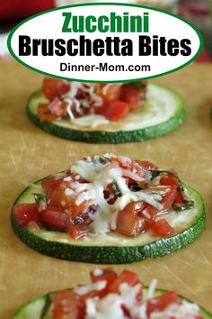 You won't miss the bread with Zucchini Bruschetta Bites. This healthy low-carb appetizer is full of flavor! You won't miss the bread with Zucchini Bruschetta Bites. This healthy low-carb appetizer is full of flavor! Low Carb Recipes, Diet Recipes, Vegetarian Recipes, Healthy Recipes, Low Carb Vegitarian Recipes, Recipies, Bruschetta, Low Carb Appetizers, Appetizer Recipes