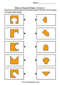 Printable brain teaser worksheets for kids in preschool, kindergarten, grade make square shapes by adding each shape on the left to a shape on the right. Critical Thinking Activities, Science Activities For Kids, Infant Activities, Preschool Activities, Test For Kids, Math For Kids, Puzzles For Kids, Kindergarten Worksheets, Worksheets For Kids