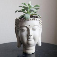 Buddha Head Planter Home Garden Decor by brooklynglobal on Etsy, $40.00