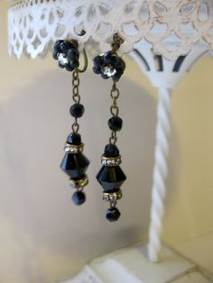 Vintage Jet Black & Rhinestone Rondelles Dangling Earrings