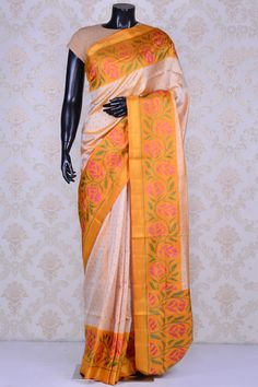 Cream pretty patola silk saree with multicolor border-SR19988 - Pure Patola/Ikkat Silk - PURE HANDLOOM SILK SAREE - Sarees