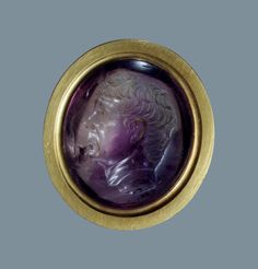 Title: Portait of Sextus Pompeius Place of creation: Ancient Rome Date: 1st century BC-1st century Material: amethyst, gold Technique: intaglio Dimensions: 2,1x1,7 cm Inventory Number: ГР-21665