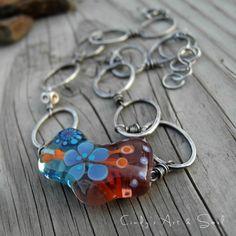 Artisan Lampwork Glass Necklace Blue + Orange Fine Silver